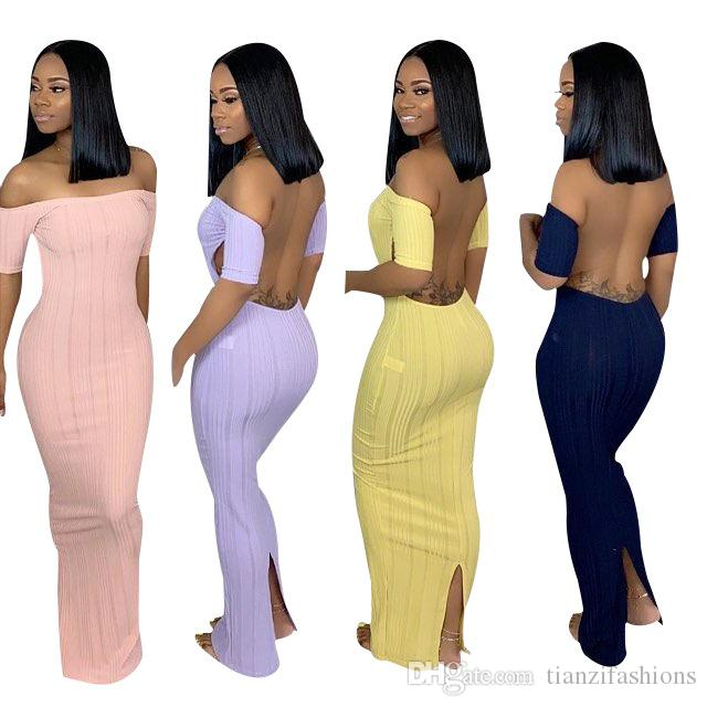 2019 hot sell SC8320 fashion solid off shoulder backless long maxi slit bandage bodycon lady dress