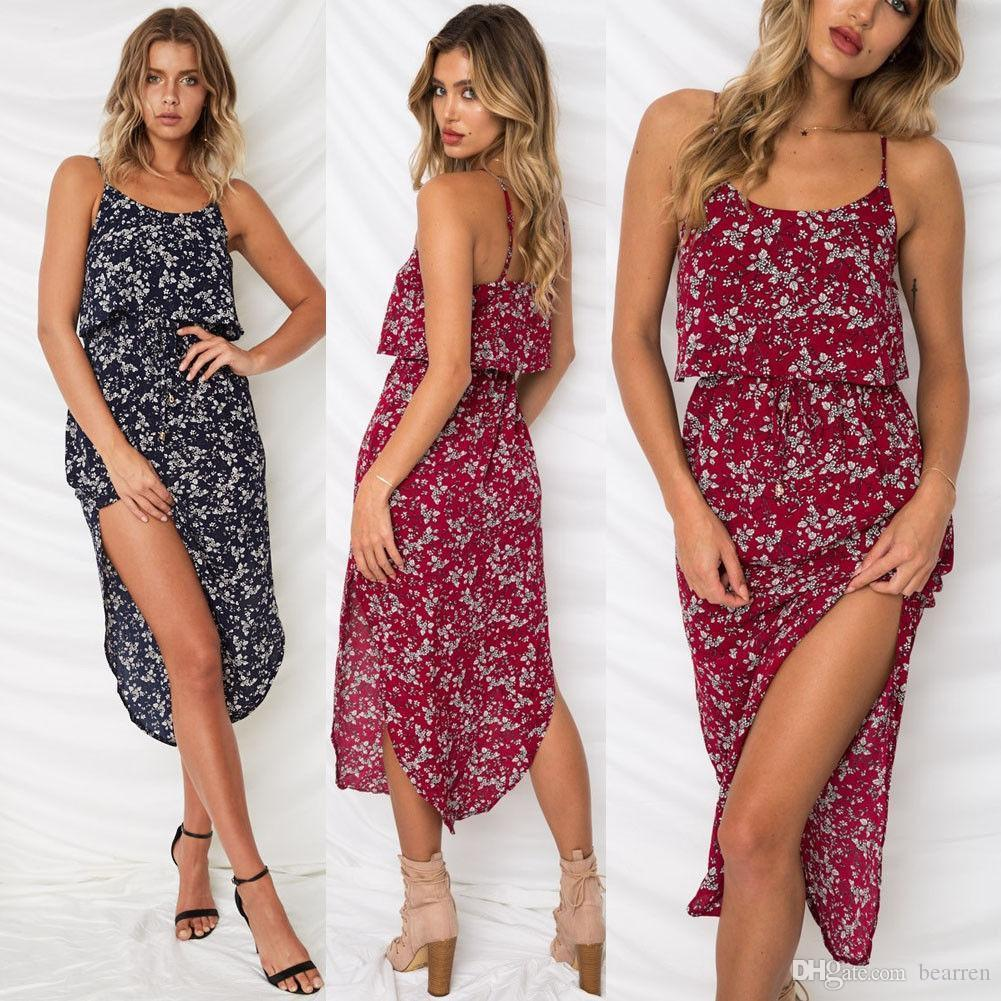 1ed195f22 Women Boho Long Maxi Dress Ladies Party Evening Summer Beach Sundress  Sleeveless Bohemian Beach Dress 2018 Summer Style Online with $17.97/Piece  on ...