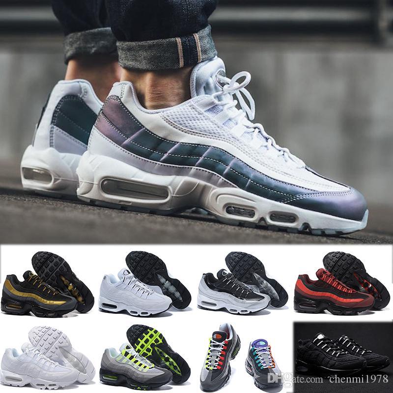 huge selection of db4a5 fbd57 Acheter Nike Air Max 90 95 97 98 270 Chaussures OG QS 20th Anniversary 95  Plus Cushion Hommes Femmes Ultra Chaussures De Course 95s Rainbow Noir Blanc  Pêche ...