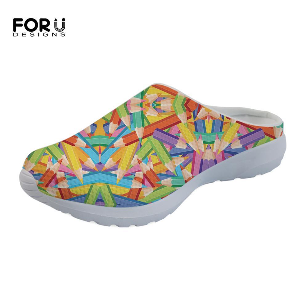c606bdbbaa104 Acheter FORUDESIGNS Crayons Colorés Motif De Mode D été Dames Pantoufles  Chaussures Femme Casual Confortable Mesh Sandales Légères Pour Les Filles  De  37.98 ...