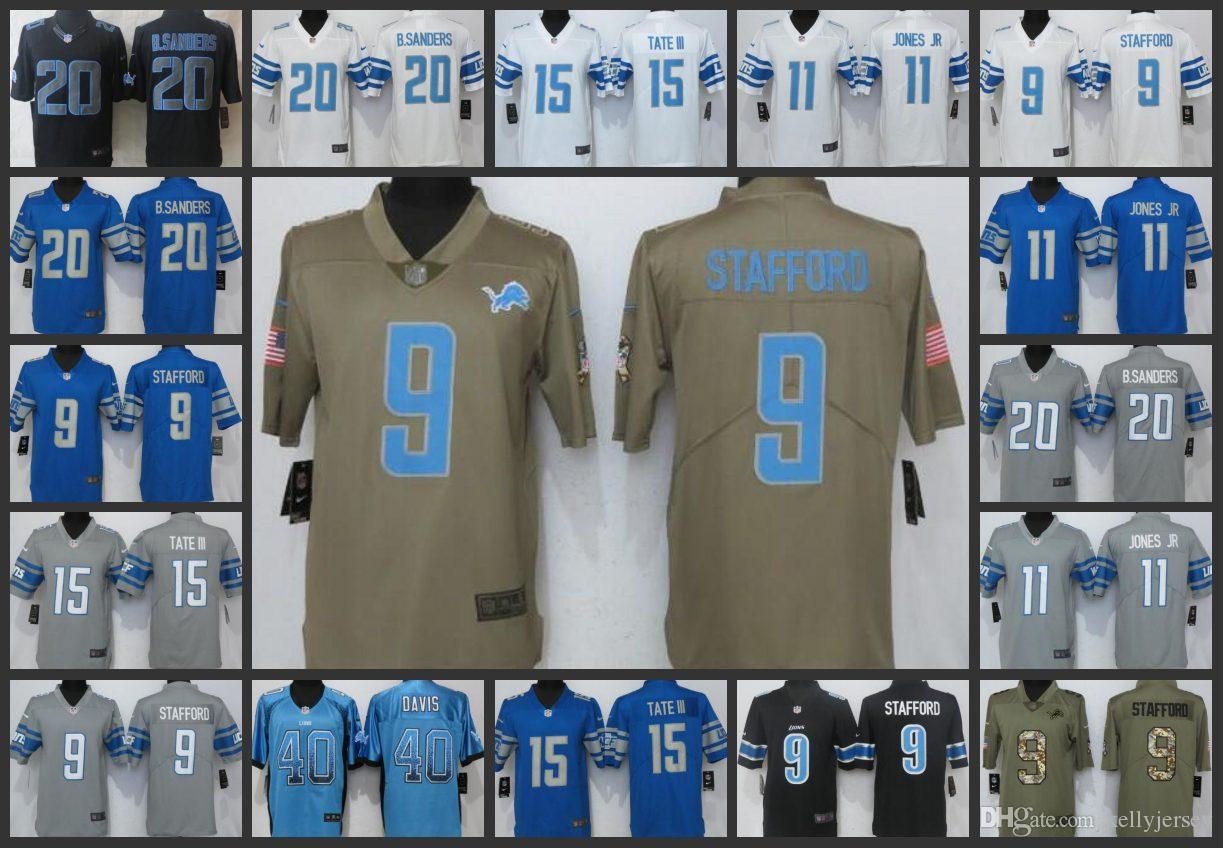 new style 399ea ef9d7 Detroit Men Lions Jerseys #9 Matthew Stafford 11 Marvin Jones 40 Jarrad  Davis 15 Golden Tate III Women Youth Embroidery Jersey