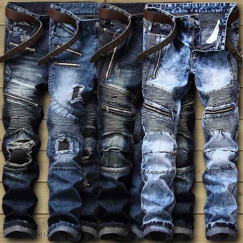 07eb08b0a91c72 2019 Dropshipping Biker Jeans Men'S Distressed Stretch Ripped Biker Jeans  Men Hip Hop Slim Fit Holes Punk Denim Jeans Cotton Pants From Oldriver, ...