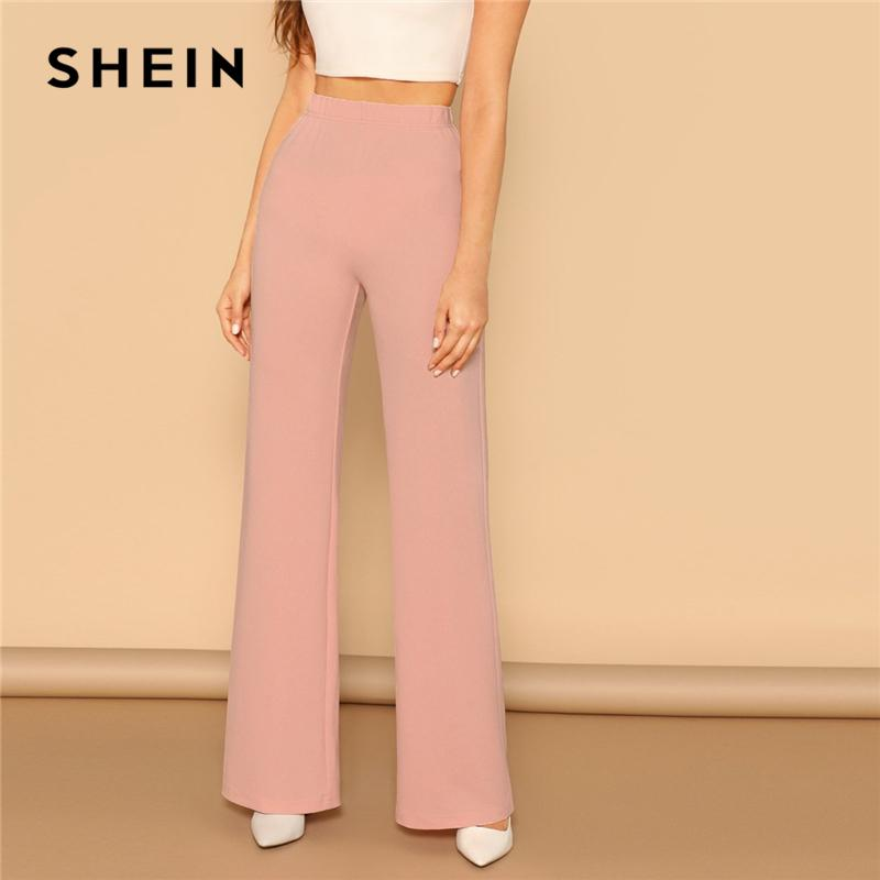 56424414cc1e 2019 Shein Pink Elastic High Waist Straight Solid Long Women Trousers  Office Lady Spring Elegant Workwear Wide Leg Pants C19041801 From Xiao0002,  ...