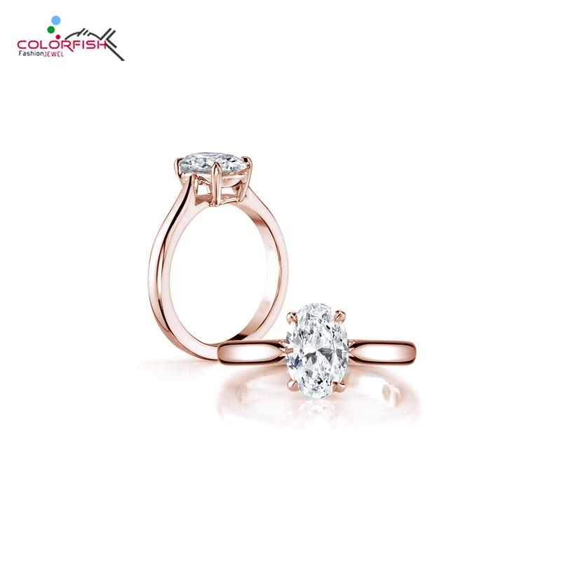 COLORFISH Brand Luxury Solitaire Engagement Ring Solid 925 Sterling Silver Rose Gold Filled 2 Carat Oval Sona Rings For Women C18122801