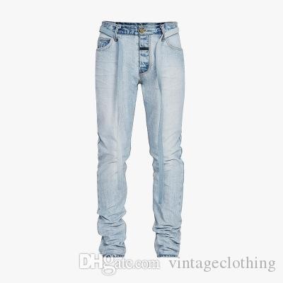 Mens Hip Hop Fashion Street Brand Blue Jeans Full Length Male Skinny Casual Jeans Button FOG Pants