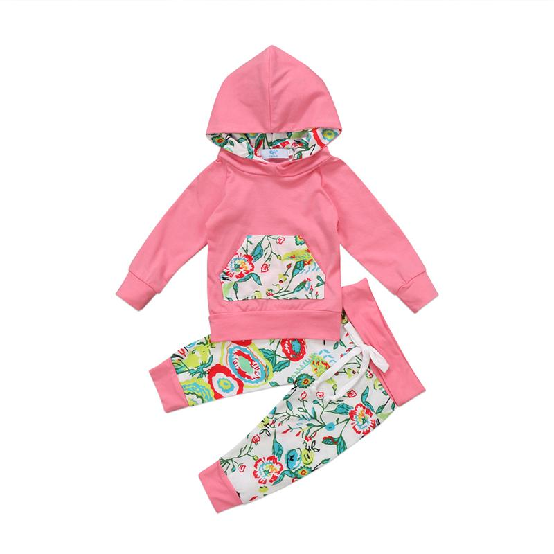 ffb1f18cff7c 2019 Floral Toddler Baby Girls Autumn Hooded Clothes Set Kids Girl Baby  Cotton Pink Hoodies T Shirt Top Long Pants Outfit Clothes Set From  Jasmineer, ...