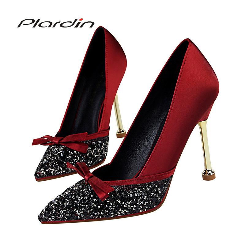Dress Plardin New Women Butterfly-knot Bling Metal Decoration Shoes Woman Pointed Toe Thin Heels Women's Buckle Pumps High Heels
