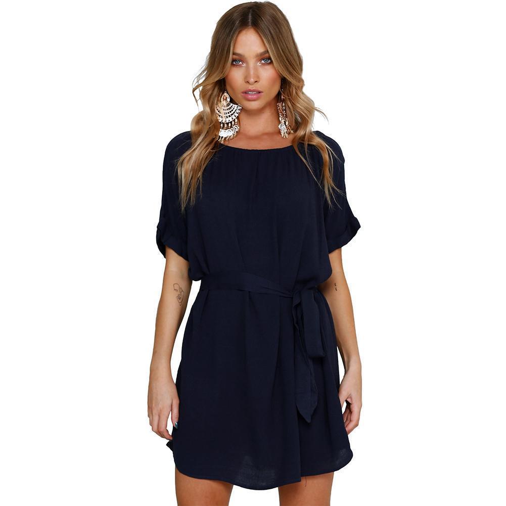 2398f330e29 Summer 2019 New Shirt Dress Navy Round Neck Casual Chic Short Chiffon Dress  With Belt Loose Vestidos Summer Tunic Dress Femme Sundress Outfits  Sundresses ...