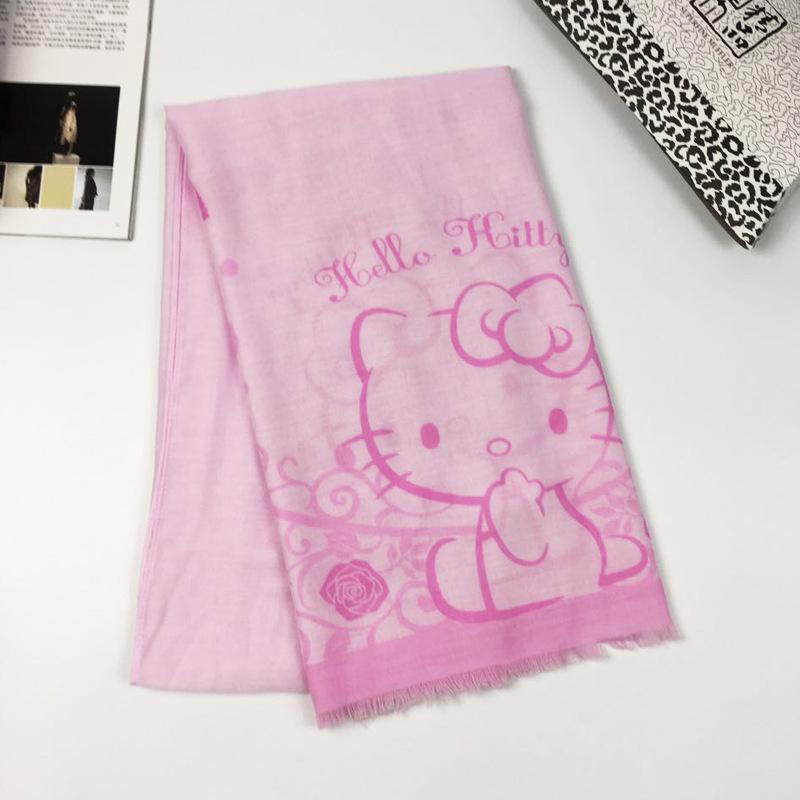 New Hello Kitty Scarf Girl Children Cartoon Pink Cat Print Shawl Tassel Scarf Hello Kt Kitty Women Voile Bali Yarn Kid