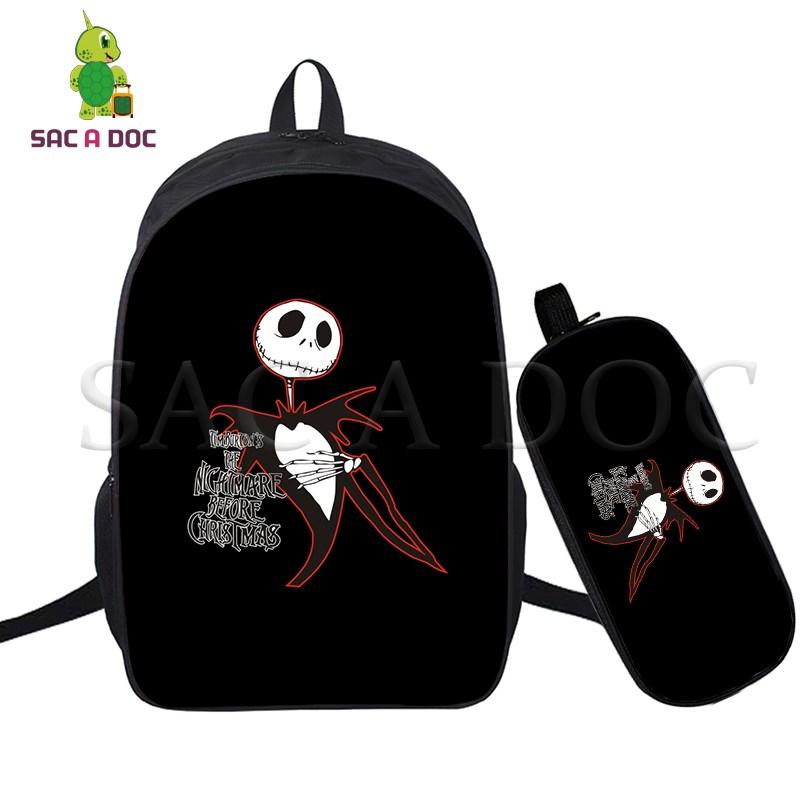 1ddf04b99d49 The Nightmare Before Christmas 2 Pcs/set Laptop Backpack School Bags for  Teenage Girls Boys Daily Backpack Jack Sally Travel Bag