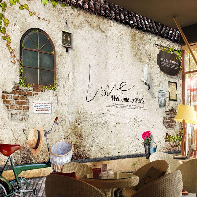 Großhandel Nostalgische Retro Ziegelstein Tapete Schlafzimmer Café ...