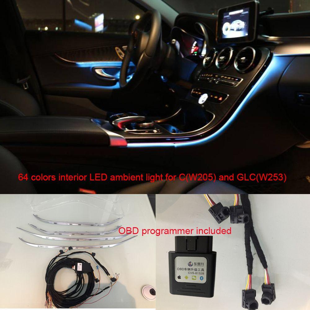 Car interior 3/64 colors LED ambient light door panel central control  console light for Mercedes-Benz C Class W205 GLC(W253) C180 C200