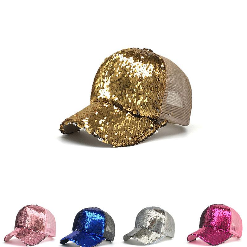 6e704cd37d0720 Sequins Ponytail Hats Glitter Baseball Cap Shiny Messy Bun Snapback Hat Hip  Hop Sunshade Outdoor Cap Hot Fashion Sparkling Shiny Hats Mens Party Favors  ...