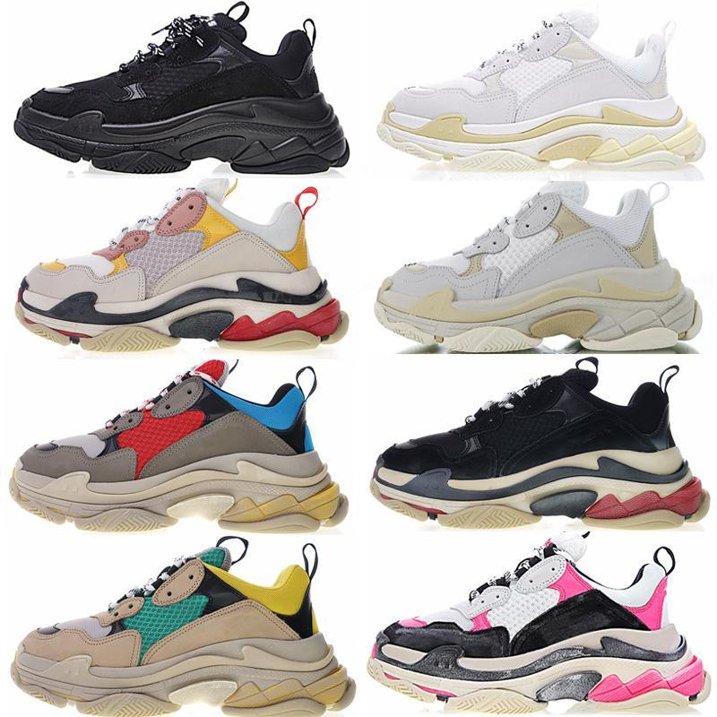 2019 Paris Fashion 17FW Triple S Sneaker Beige Bianco Nero Rosa Triple S Casual Shoes papà per le donne progettista scarpe c16 Uomo