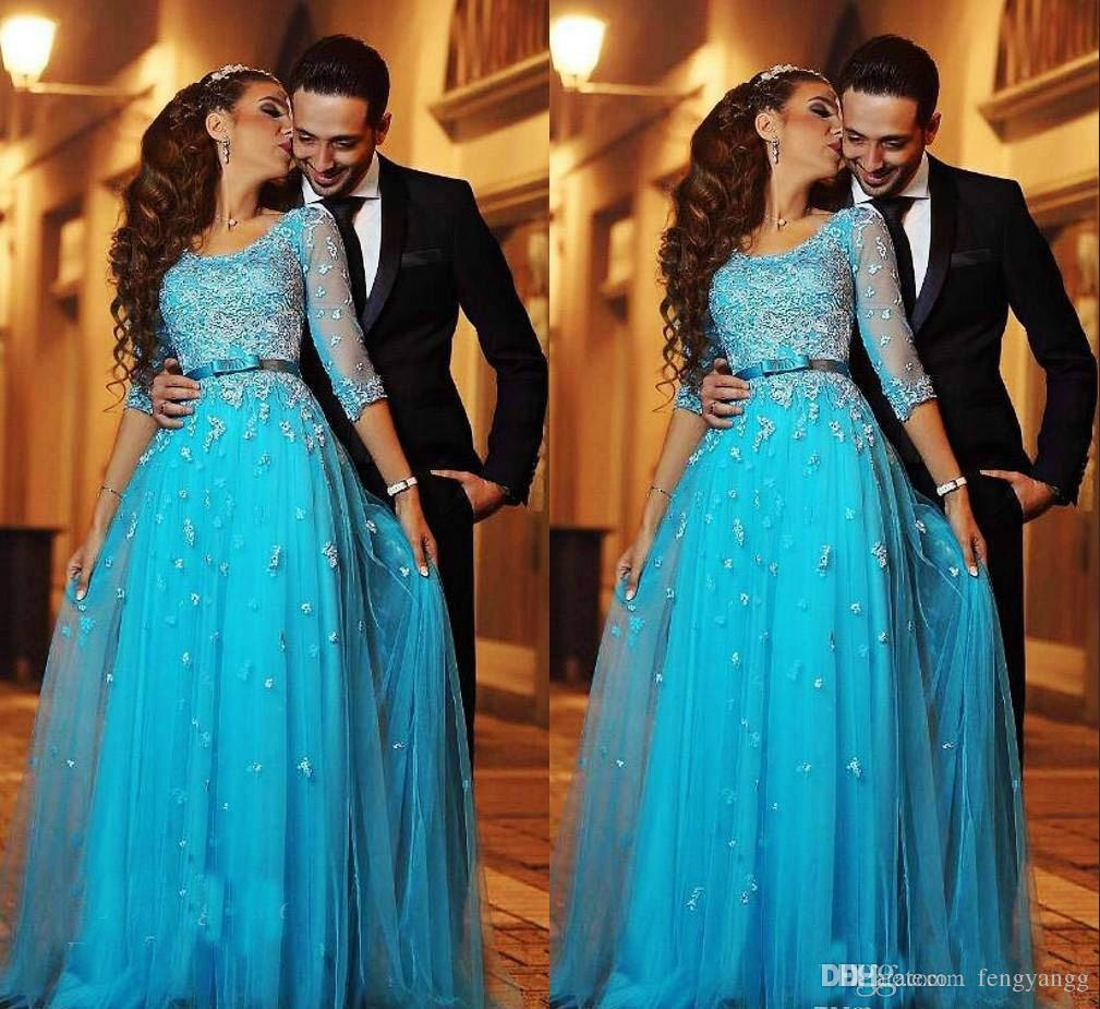 2019 Blue Lace Appliques Arabic Evening Dresses Half Sleeves A-line Tulle Long Formal Holiday Wear Prom Party Gown Custom Made Plus Size