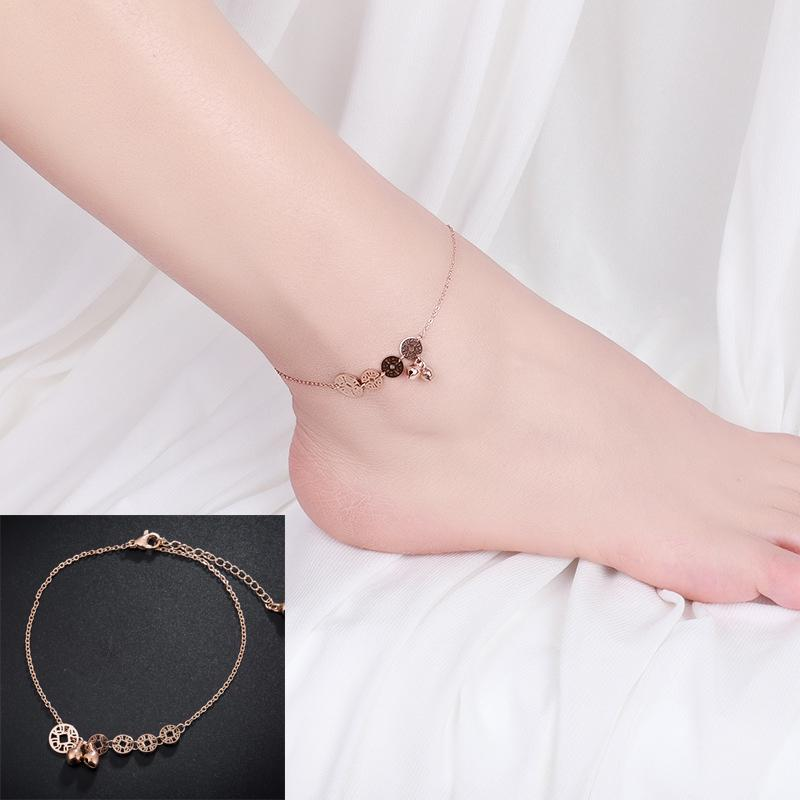 European and American fashion coin titanium steel foot chain, rose gold tide man jewelry men and women bell copper money hundred feet ring