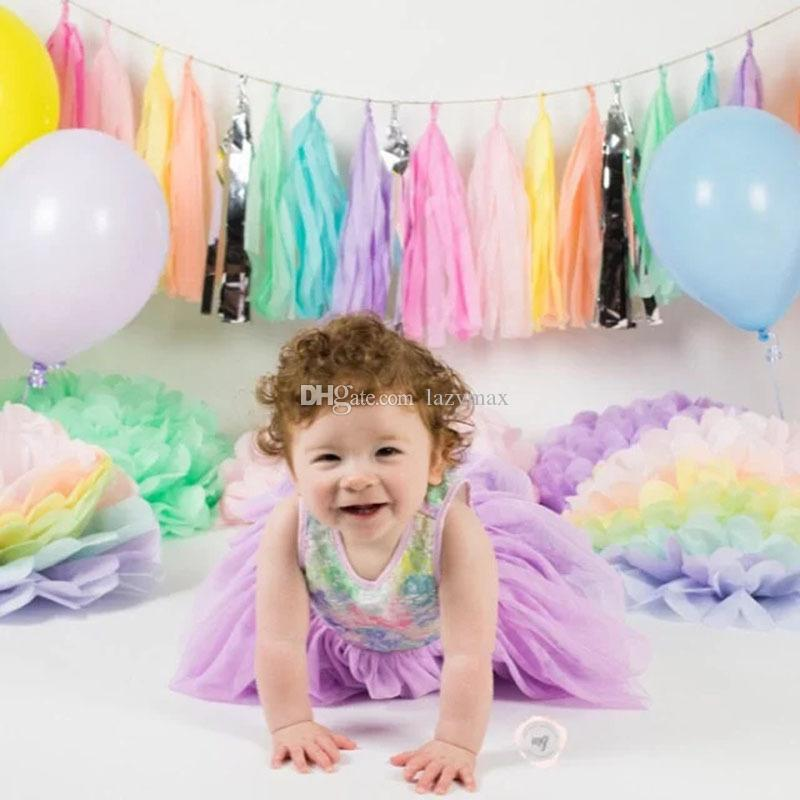 2019 Baby 1st Birthday Party Decorations Supply Set 10 Designs Colorful Paper Tassels DIY Wedding Supplies DHL From Lazymax 051
