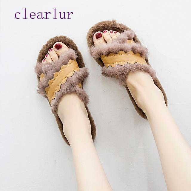 5ba54216f06b Winter Fashion Women Home Slippers Faux Fur Warm Shoes Woman Slip On Flats Female  Fur Flip Flops Plus Size C0458 White Shoes Womens Sandals From Fenxin