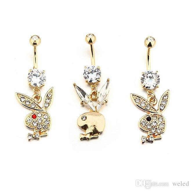 Golden Color Cute Rhinestone Rabbit Head Body Jewelry Belly Button Rings Piercing Belly Button Ring