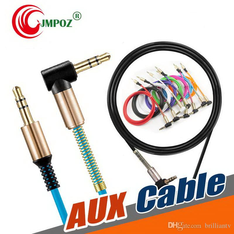 3.5mm AUX Audio Cable 90 Degree Right Angle Jack Car Stereo Extension Retractable Male for iphone 7 8 x Samsung Speaker Computer