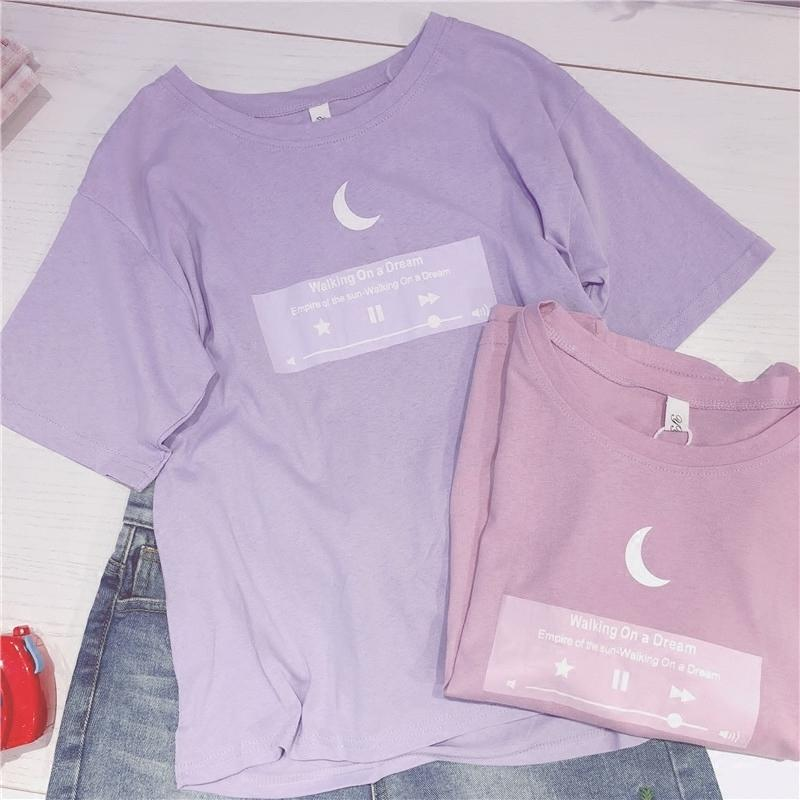 580a9306 2018 Japanese Tshirt Moon Women Best Friends T Shirt Pink Purple Cute Top  For Teenager Colleage Girls Style 2xl Plus Size Female S403 Humorous T  Shirts T ...