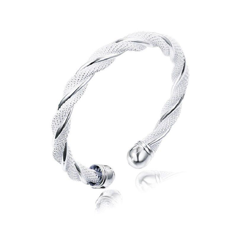 f7b19ba0173cb 925 Silver Plated Open Bracelets Twist Mesh Chain Bangle Charm Bracelets  Shiny Open Band Cuffs Women Statement Jewelry Gift Accessories DHL