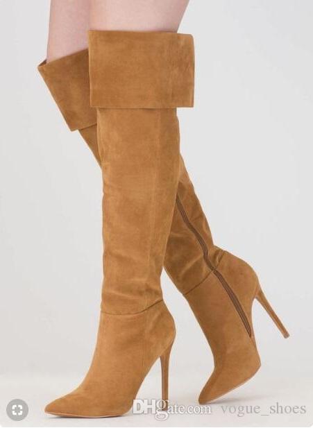 3755eefa09f Acheter Bottes Pour Dames Marron Daim En Cuir Sur Le Genou Cuisse Bottes  Hautes Bout Pointu Se Replier Sur L hiver Bottes Longues Bout Pointu  Chaussures De ...