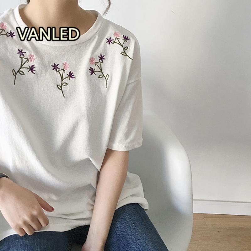 1671ed9dc1be Embroidery Flower Round Neck Short Sleeve T Shirt 2019 Spring Clothes New  Fashion Casual Women Girls Summer Cotton Korean Tees Weird T Shirts T Shirt  Shop ...