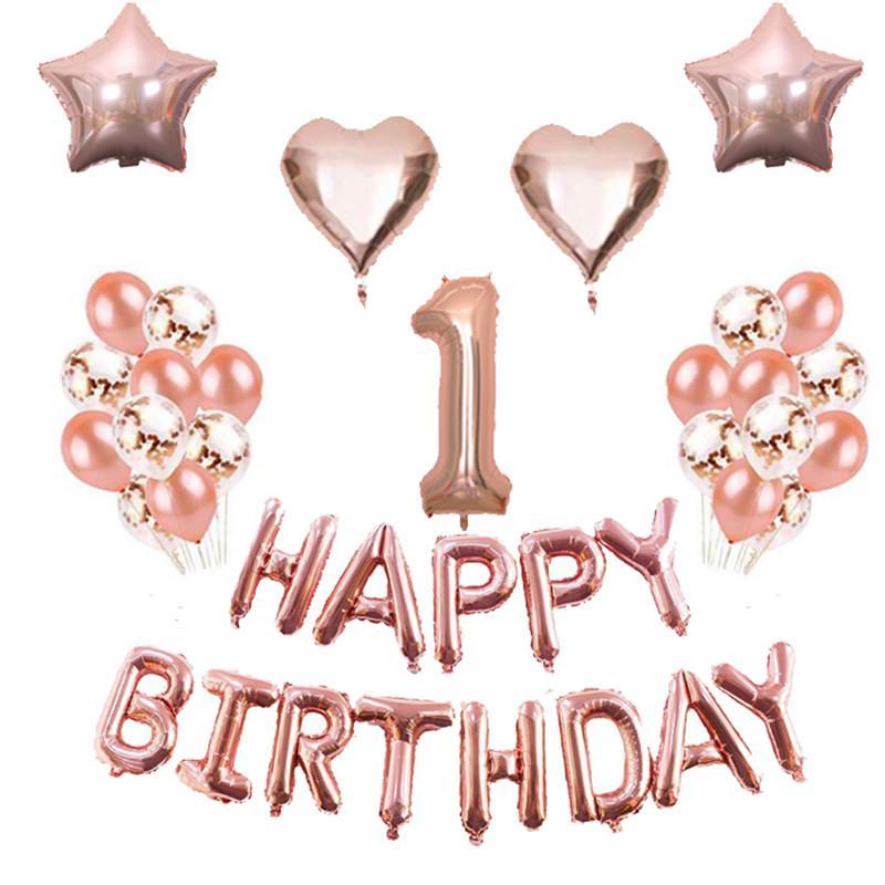 Grosshandel 1 Satz Rose Gold Happy Birthday Balloon Bunting Geburtstag Party Hintergrund Folie Anzahl Ballon Konfetti Ball Von Magicalparty