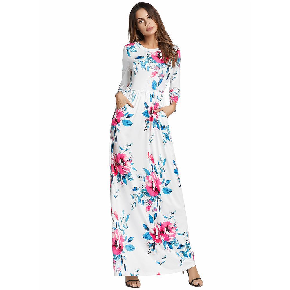 fbd91c89da664 Compre 2019 Moda Mujer Vestido Floral Primavera Verano Manga Larga Vestido  Maxi Vestido De Cintura Elástica Vestido Largo Con Bolsillos Vestidos A   38.56 ...
