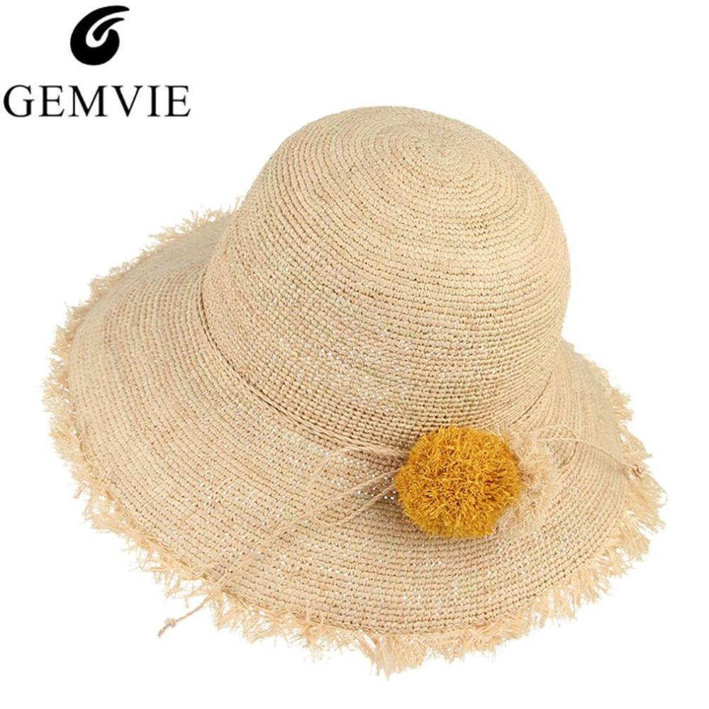 afb2261a0 Cute Pompom Ball Floppy Foldable Fringe Brim Raffia Straw Hat Lady Girls  Sun Cap Beach Summer Hats For Women Visor Panama