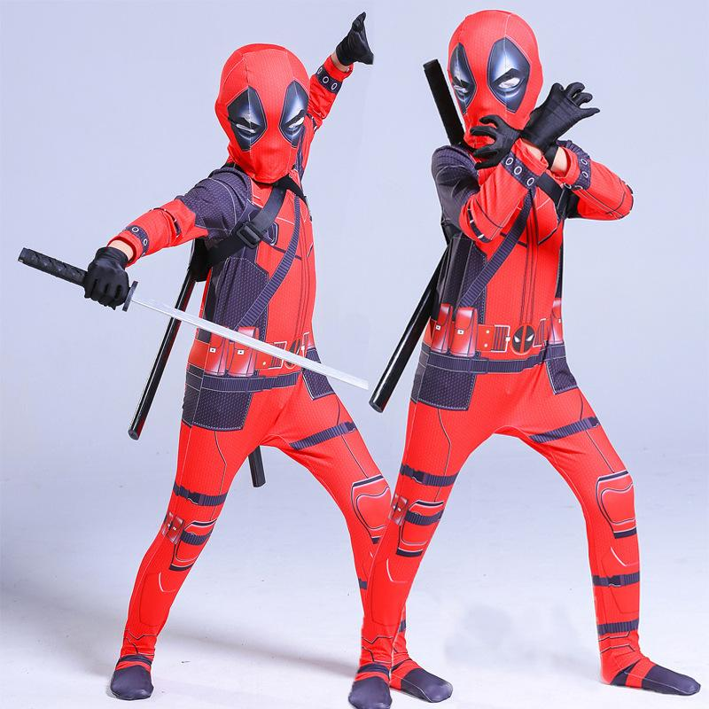 Superhero Deadpool Costume Halloween Costume for Kids Child Boys Zentai Cosplay Suit Carnival Avengers Clothing