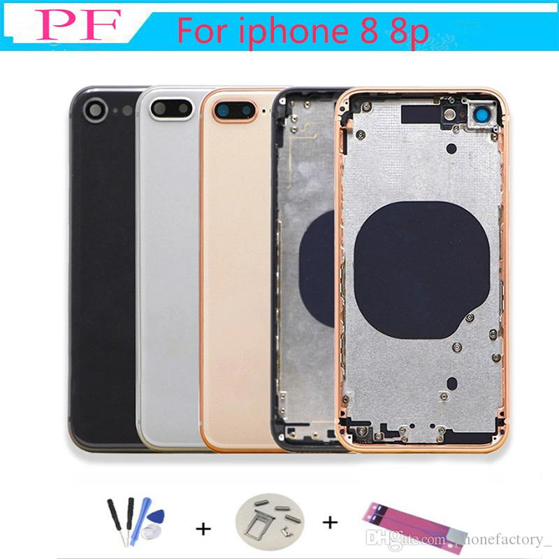 For iphone 8G 8 Plus Back Middle Frame Chassis Full Housing Assembly Battery Cover For iphone 8 back Housing+ Adhesive tape+tools