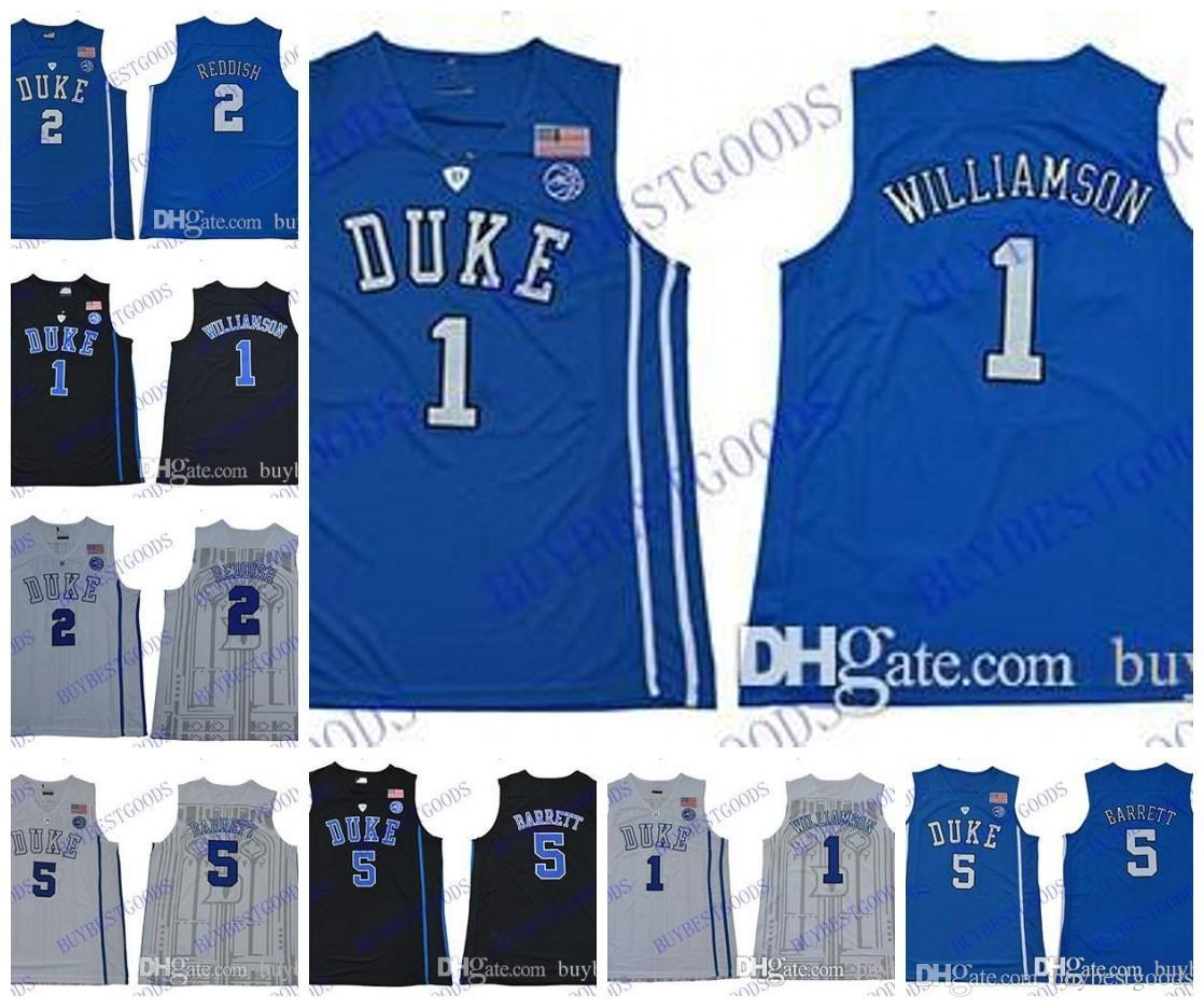 91140441a2a4 2019 2019 NCAA Duke Blue Devils Jersey 1 Zion Williamson Jersey 5 RJ  Barrett 2 Reddish Royal Blue Black White College Basketball Jerseys From  Mo1129