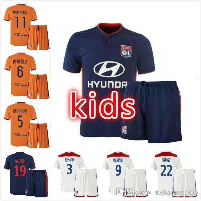 b65d6b2e6c9 Kids Kit 18 19 Olympique Lyonnais Soccer Jersey 2018 2019 Home Third ...