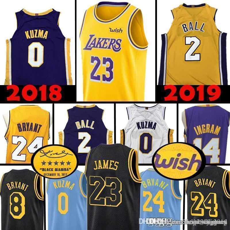 the best attitude 00dd2 55f2c Top Los Angeles LeBron 23 James Lakers Lonzo 2 Ball Kyle 0 Kuzma Jersey  Brandon 4 Ingram 24 Kobe 8 Bryant Basketball Jerseys 2019