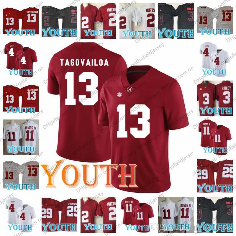 599dc9a28 Youth Alabama Crimson Tide  13 Tua Tagovailoa 2 Hurts 4 Jeudy 11 Henry  Ruggs 3 Ridley 29 Fitzpatrick 2018-19 Champions NCAA Football Jerseys Tua  Tagovailoa ...