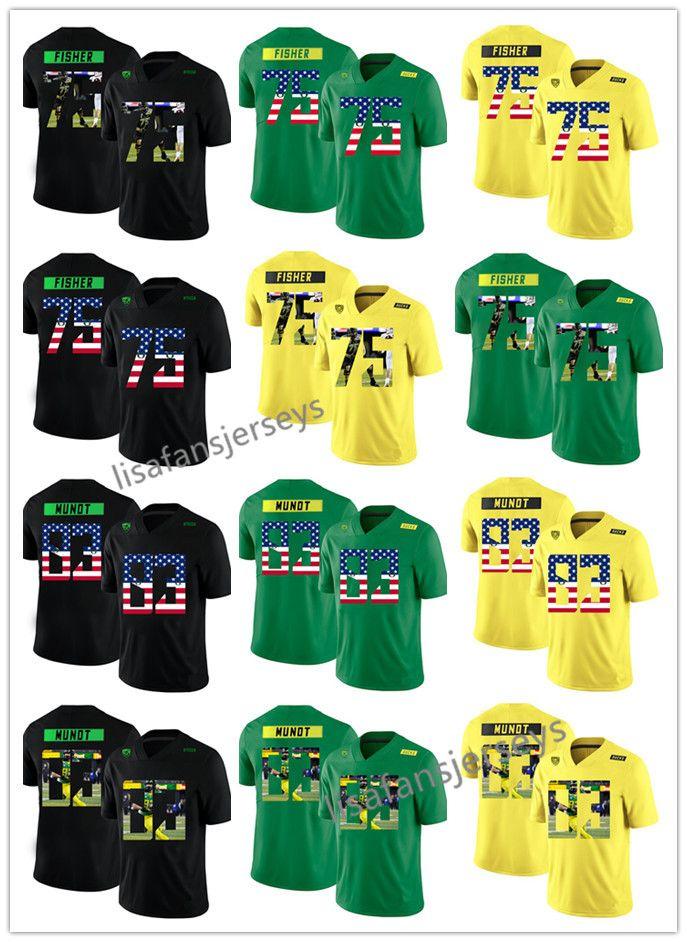 c11a65061 Custom 2019 Oregon Duck Yellow Green Black Jersey 75 Jake Fisher 83 Johnny  Mundts College Football Any Number Names Jerseys Mens Oregon Duck College  Jerseys ...