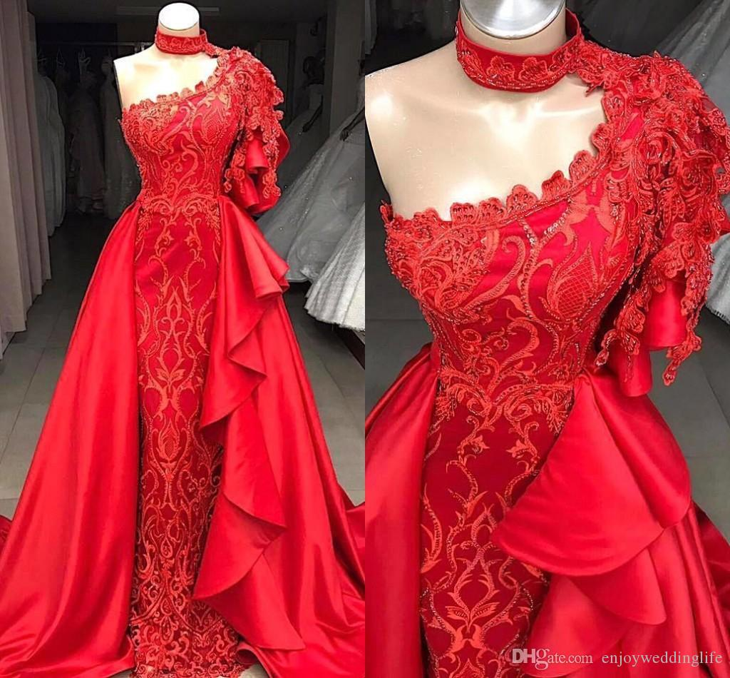 4283ea392bf 2019 New Red One Shoulder Formal Evening Dresses Lace Appliques Beaded With  Detachable Skirt Mermaid Long Prom Dresses Fashion Wear BC0693 Best Formal  ...