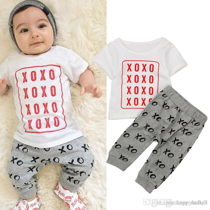 3cb2a7d27e6c9 2019 New INS Baby Boys Clothing Sets Letter Top T Shirt+Pants Kids Toddler  Infant Casual Short Sleeve Suits Summer Children Outfits Clothes From  Runkid