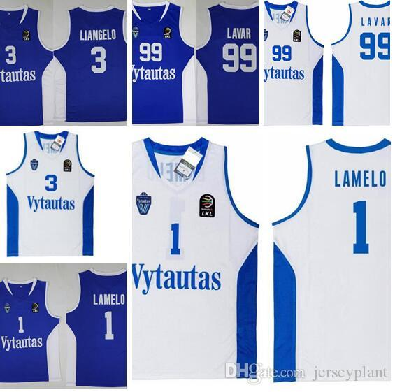 Men NCAA 99 Lavar Ball Lithuania Prienu Vytautas Basketball Shirt 1 Lamelo Ball 3 Liangelo Ball Uniform Basketball Jerseys White Blue