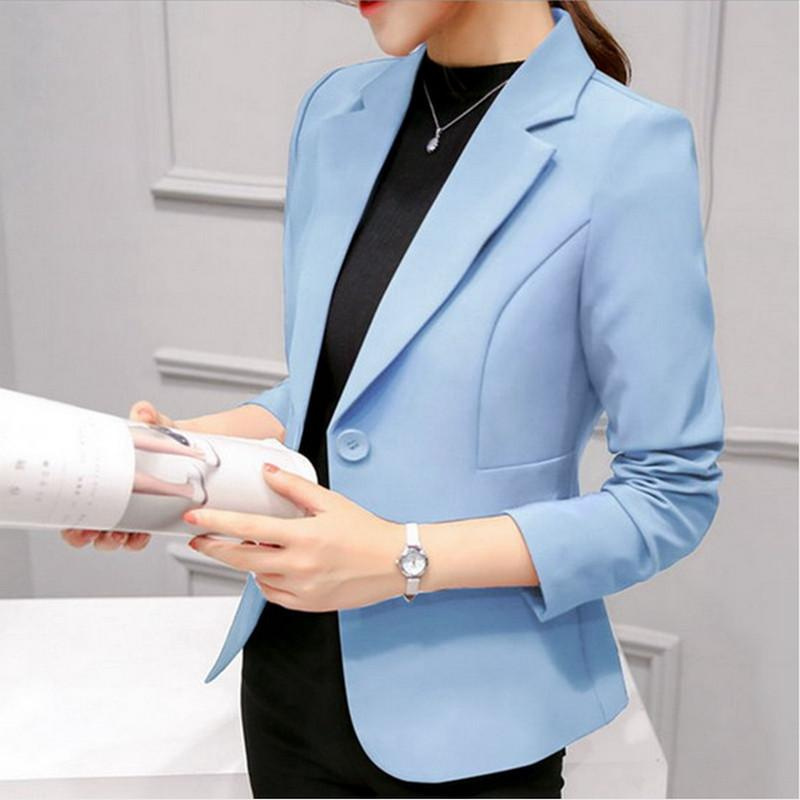 Brand Spring Autumn Slim Fit Women Formal Jackets Office Work Suit Open Front Notched Ladies Solid Black Coat Fashion blazers