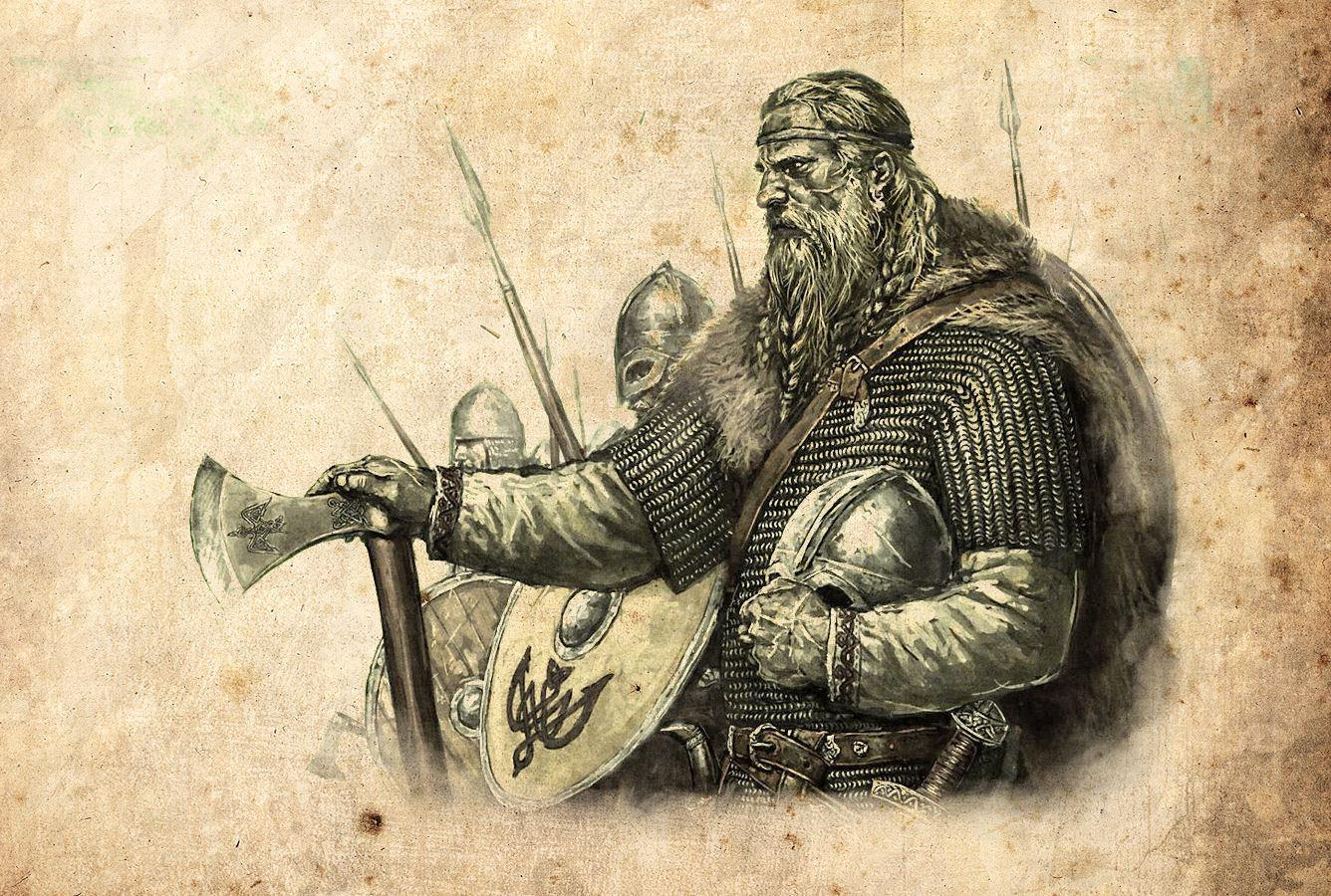 Viking warriors vintage style pencil sketch art silk print poster 24x36inch60x90cm 088