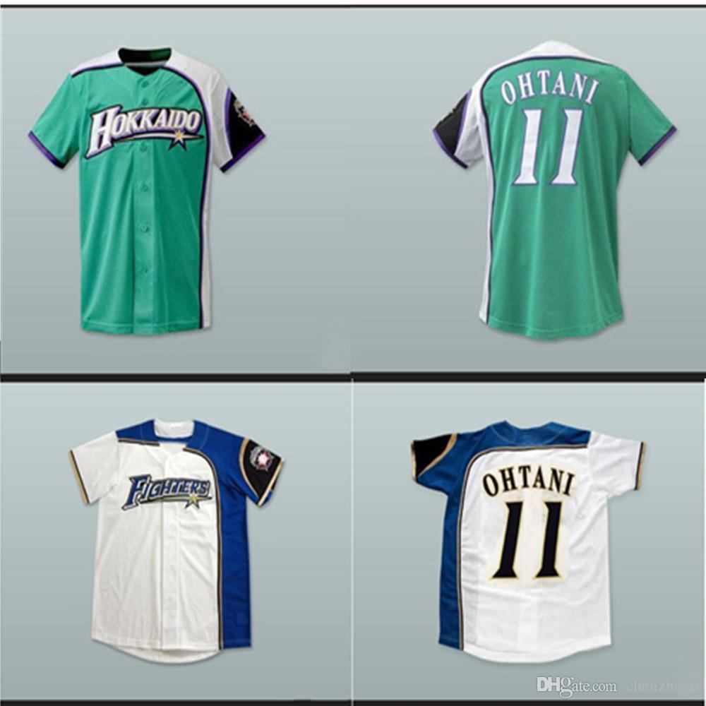 cheap for discount ed8b4 63d8b Hokkaido Nippon-Ham Fighters # 11 Shohei Ohtani blanco verde béisbol Jersey  hombres