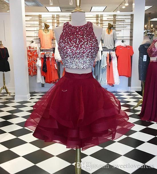 Luxuery Sequin perles court Robes de bal en organza deux pièces Bourgogne jupe courte robes de cocktail Fait sur mesure