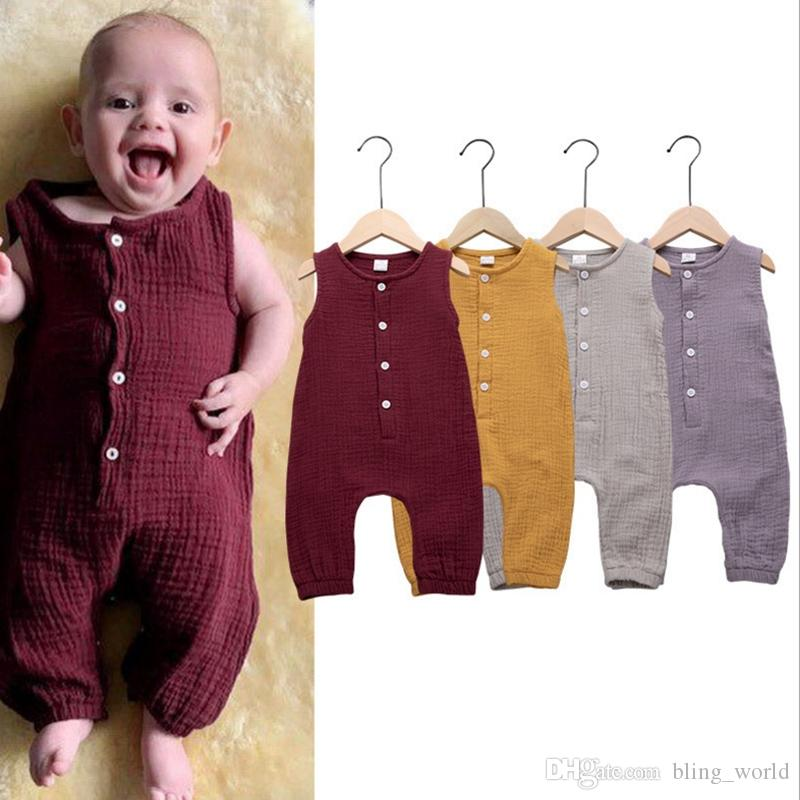 15c070dcaa09 2019 Baby Girls Clothes Solid Color Boys Rompers Cotton Linen Kids  Jumpsuits Sleeveless Infant Climbing Clothing Summer Baby Clothes YW2729  From Bling_world ...