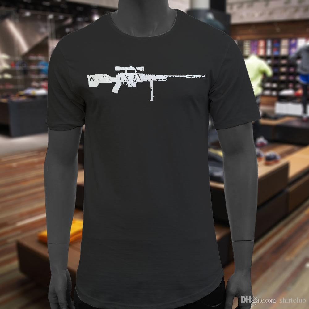 9d6255e7bc466 Acheter En Détresse Sniper Gun Hunter Militaire Marine Noir Étendu Longue T  Shirt T Shirt Pour Hommes Geek À Manches Courtes Crewneck Coton XXXL Groupe  C De ...