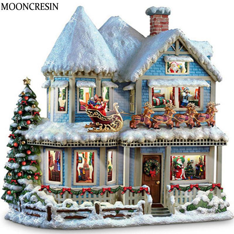 3D Diamond Embroidery Christmas 5D Diy Diamond Painting Full Square Rhinestone Snow House Cross Stitch Mosaic Picture Home Decor