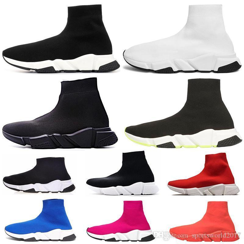 Fashion Designer Speed Trainer Sock Shoes Triple Black White Red Pink Glitter Women Mens Casual Shoe Runner Socks Sneakers 36-45