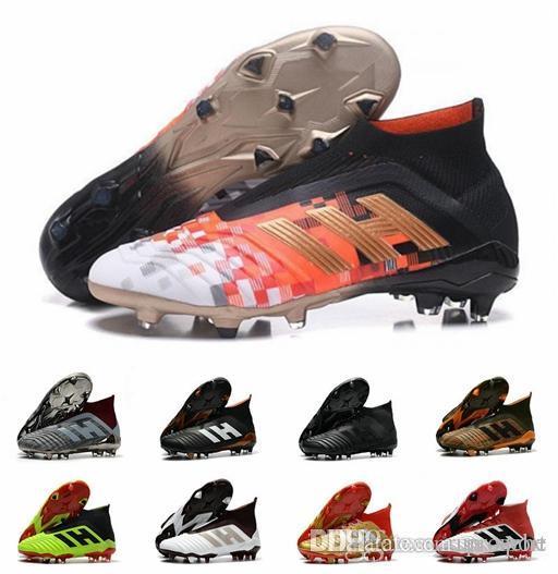 e75a5980718 2019 2019 Designer Predator 18 FG PP Paul Pogba Soccer Cleats Slip On Chaussures  De Football Boots Mens Predator 18+ High Top Soccer Shoes 39 45 From ...